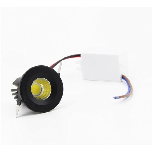 Inbouwspot kleine diameter wit of zwart 3W 30mm zaagmaat