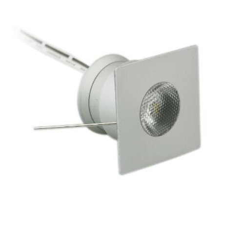 Mini inbouwspot LED 4W 30mm zaagmaat vierkant wit of grijs