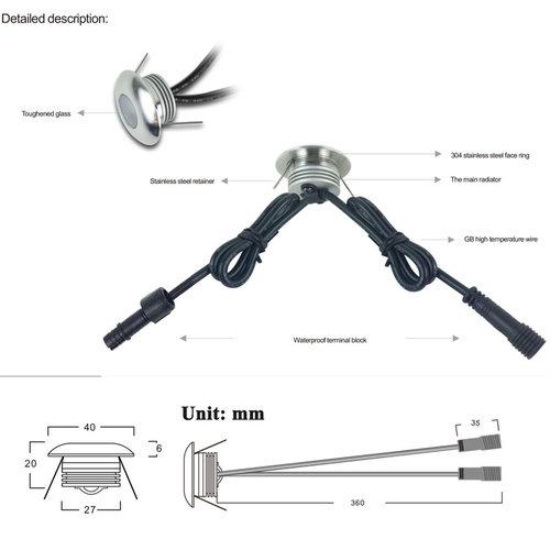 Inbouwspot 40mm diameter 1W LED dimbaar IP67