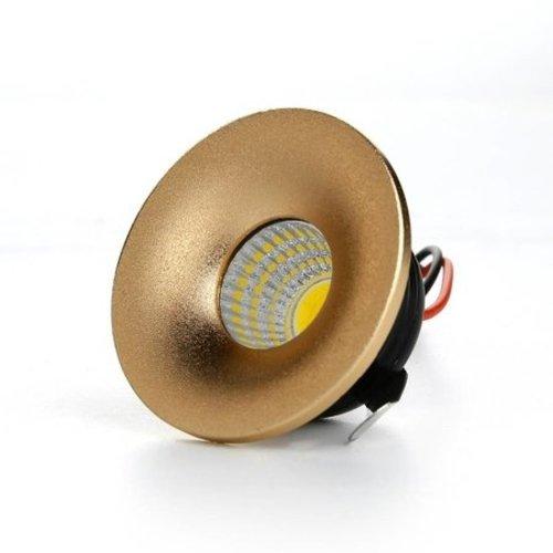 Kleine inbouwspot 3W LED wit of goud lage inbouwdiepte