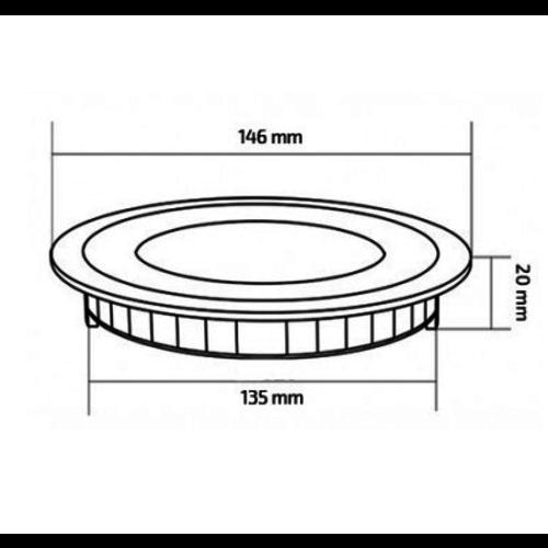 LED spot inbouwdiepte 2 cm rond 9W 135mm zaagmaat
