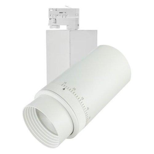 Spot pour rail triphasé LED 20W, 27W ou 35W faisceau ajustable blanc ou noir