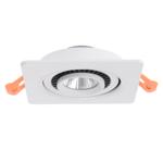Spot LED plat 6W perçage 60 mm inclinable carré blanc ou noir dimmable