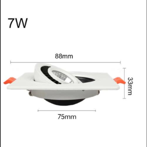 Spot faible encombrement LED 7W inclinable noir ou blanc carré