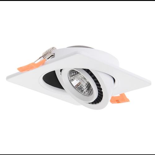 Inbouwspot zaagmaat 110mm wit of zwart dimbaar vierkant kantelbaar 15W LED