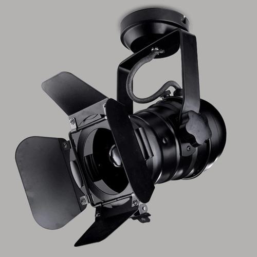 Spot cinéma industriel orientable noir E27