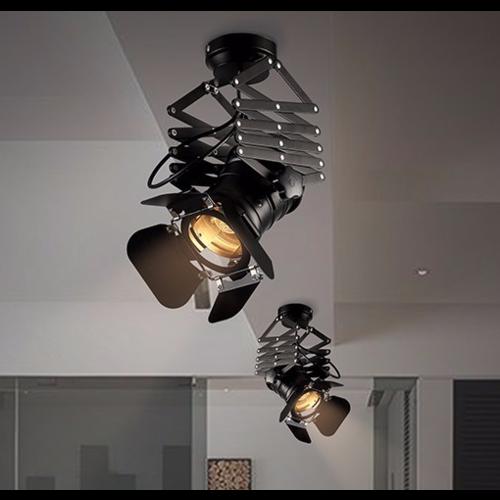 Schaarlamp plafond vintage E27 zwart richtbaar