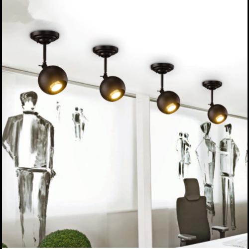 Plafondlamp bol design GU10 360° richtbaar zwart op stang