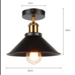 Spot plafond vintage 220mm diamètre noir doré