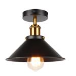 Stoere plafondlamp 220mm diameter zwart met goud
