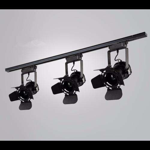 Spot sur rail industriel vintage noir E27 monophase