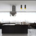 Lampe cylindre plafond blanc ou noir doré longueur 20, 30 ou 60 cm