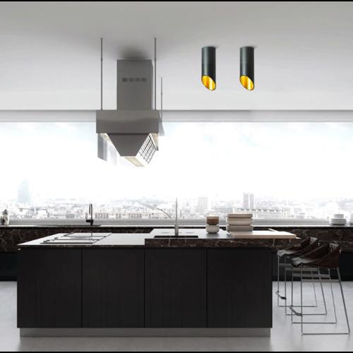 Kokerlamp plafond wit of zwart met goud 20, 30 of 60 cm lang