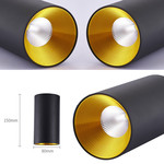 Lampe cylindrique noir doré ou blanc doré LED 7W dimmable