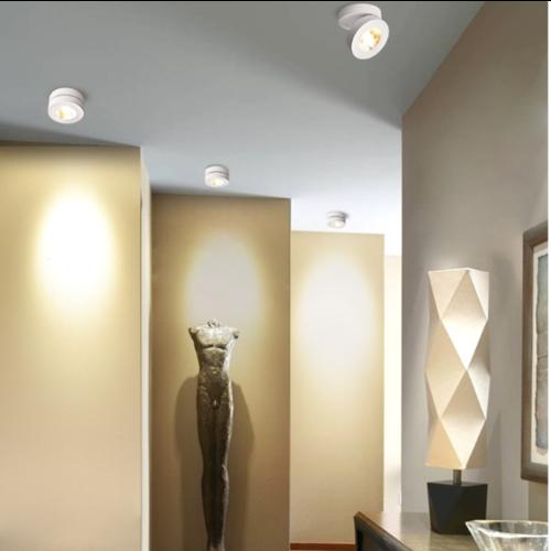 Moderne plafondspot 7W wit of zwart kantelbaar