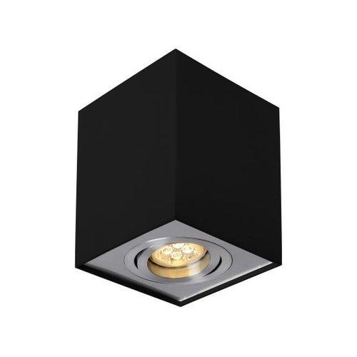 Vierkante plafondspot zwart GU10