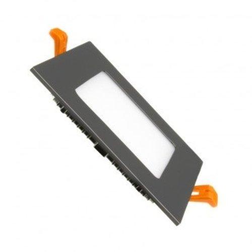 Inbouwspot vierkant zwart LED 6W zaagmaat 105x105 mm