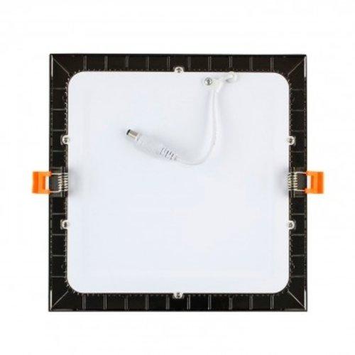 Inbouwspot zwart vierkant LED 12W 160 x 160 mm zaagmaat