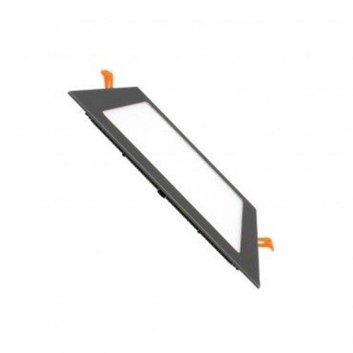 Dalle LED 205x205 mm encastrable carré noir 18W dimmable