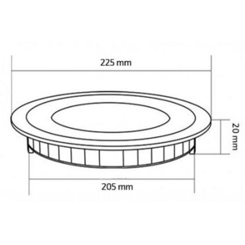 Panneau LED noir rond 18W diamètre 225 mm dimmable