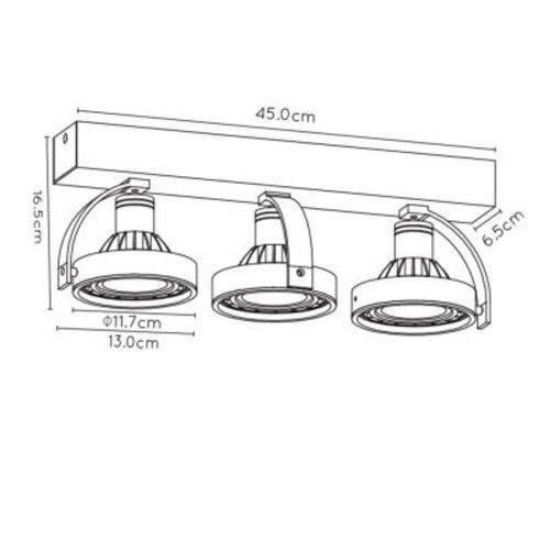 Plafonnier 3 spots LED noir dim to war 3x12W