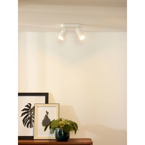 Duo spots plafond 2x5W LED dim to warm wit of zwart