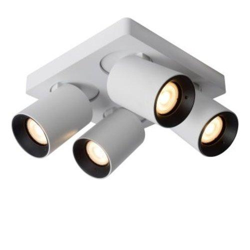 Lamp 4 spots plafond 4x5W LED dim to warm wit of zwart