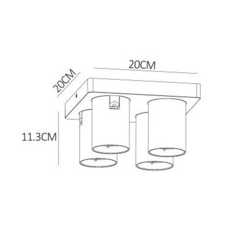 Plafonnier 4 spots LED orientables dim to warm blanc ou noir