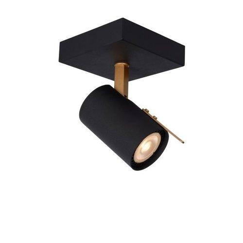 Plafondlamp zwart met goud 1x5W LED dim to warm