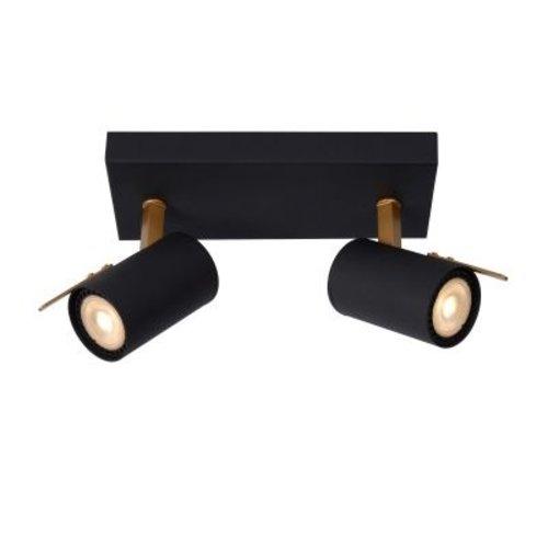 Plafondlamp zwart goud 2x5W LED dim to warm