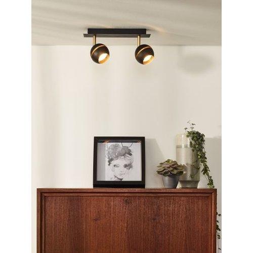 2 spots lamp plafond 2x4,5W LED zwart goud of wit goud