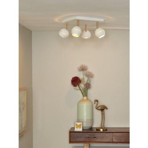 Luminaire plafonnier 4 spots LED 4x4,5W noir doré ou blanc doré