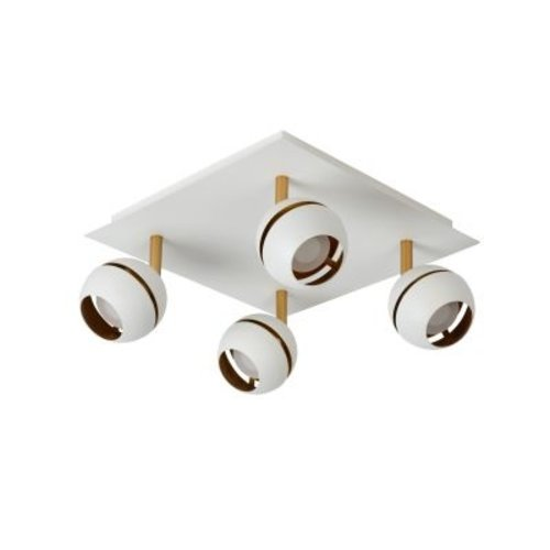 Lamp 4 spots plafond 4x4,5W LED zwart goud of wit goud