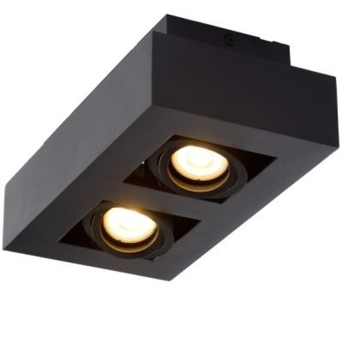 Plafondlamp spots 2x5W GU10 dim to warm zwart of wit zwart