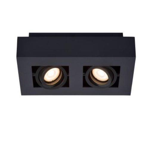 Plafonnier 2 spots LED blanc-noir ou noir 2x5W dim to warm