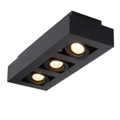 Plafondlamp 3 spots 3x5W GU10 dim to warm zwart of wit zwart