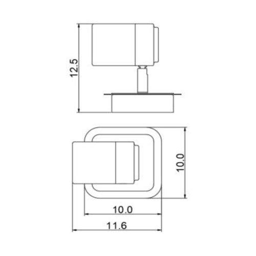 Spot plafond salle de bain 1x5W LED GU10 noir dimmable orientable
