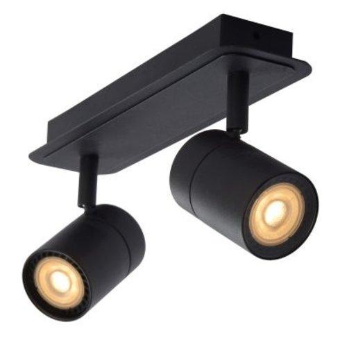 Plafonnier spots salle de bain IP44 2x5W LED GU10 noir orientable dimmable