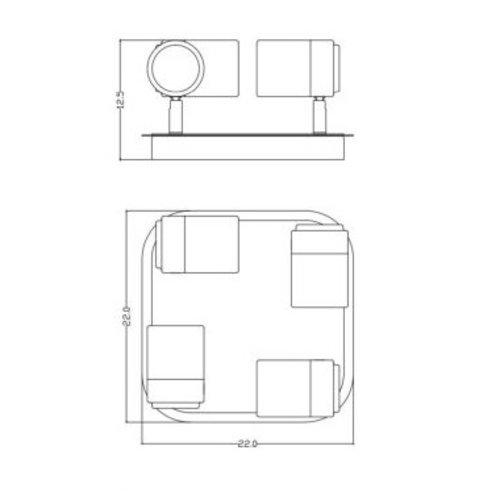 Plafondlamp badkamer zwart 4x5W GU10 richtbaar, dimbaar