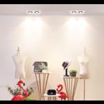 Spot encastrable rectangulaire 2x7W LED blanc, noir faible profondeur