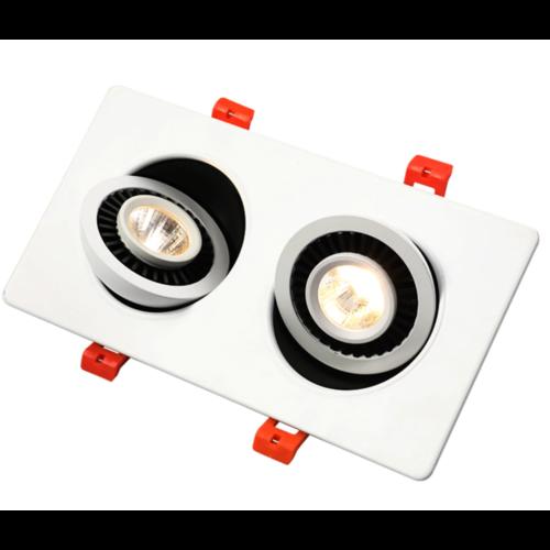 Rechthoekige inbouwspot 2x7W LED wit of zwart lage inbouwdiepte kantelbaar