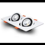 Inbouwspot dubbel 2x15W LED dimbaar zwart of wit ondiep