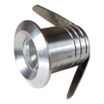 Klein spotje inbouw LED 1W 20mm zaagmaat grijs optie IP65, zwart , wit