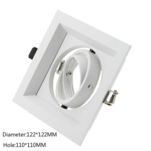 Inbouwspot 220V vierkant GU10 zaagmaat 110x110mm wit kantelbaar