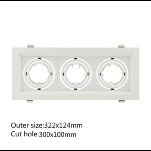 Inbouw spot GU10 (x3) wit rechthoekig zaagmaat 110 x 300 mm richtbaar