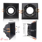 Vierkante inbouwspot zwart  GU10 boorgat 90 x 90 mm richtbaar