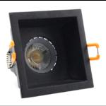 Inbouwspot vierkant zwart GU10 zaagmaat 75 x 75 mm richtbaar