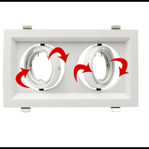 Spot encastrable rectangulaire intérieur blanc GU10 orientable scie 110x200