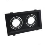 Dubbele inbouwspot zwart 2xGU10 zaagmaat 110 x 200 mm