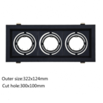 Triple spot encastrable noir 3xGU10 perçage 300 x 100 mm